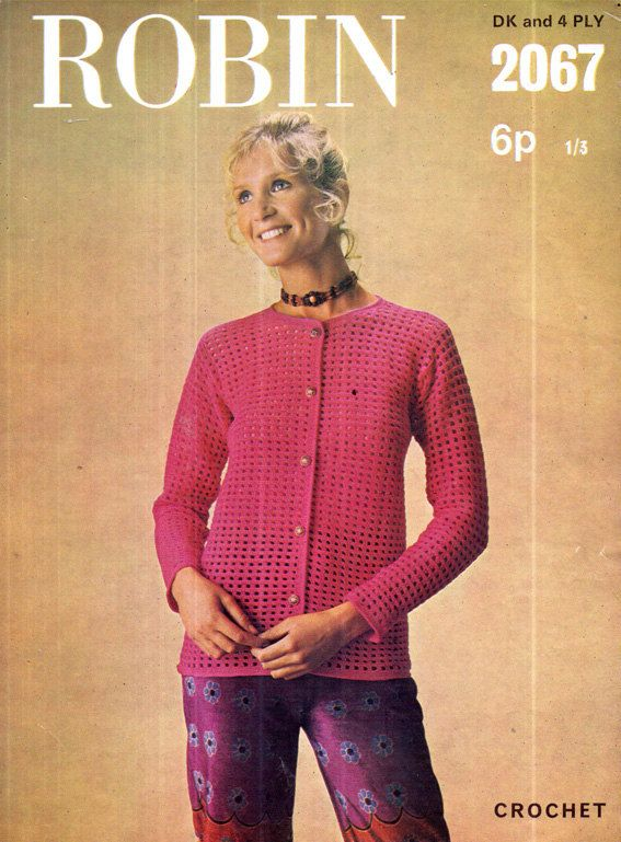 Genuine Vintage 1970s Robin 2067 Ladies Elegant 'Hot-Pink' Lacy Silver Buttoned Chic Cardigan Crochet Pattern Lookx