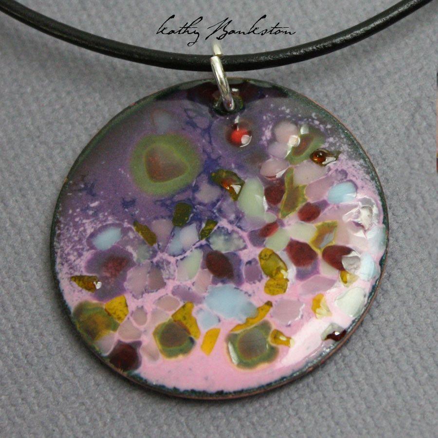 Purple And Pink Enamel Pendant Pink Enamel Enameling Jewelry Pendant