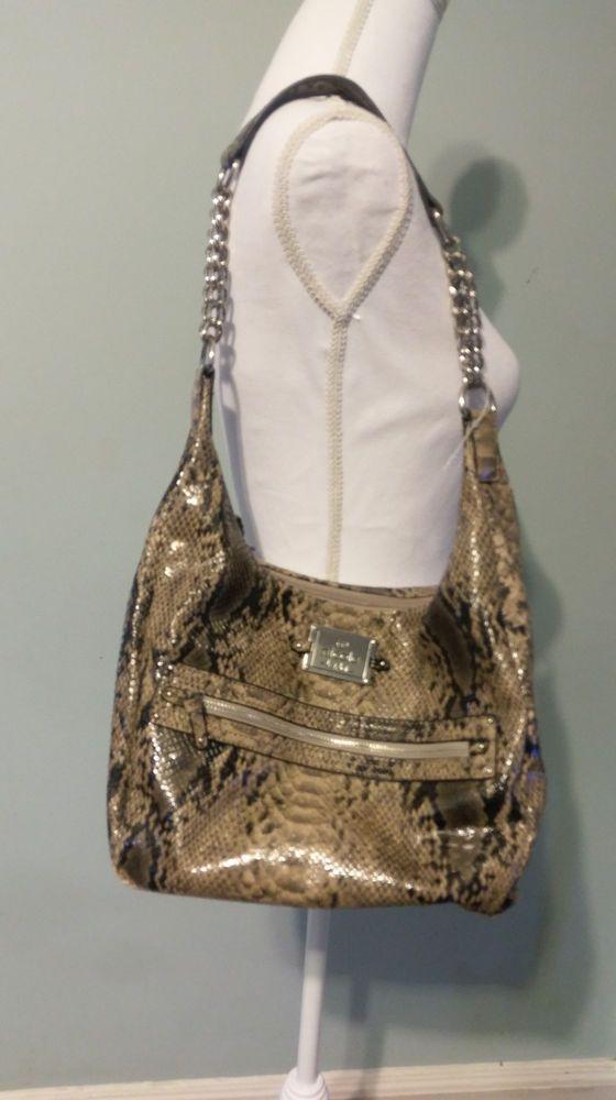 Nicole Miller PYTHON Snake skin purse w/ SILVER CHAIN handles #NicoleMiller #Hobo