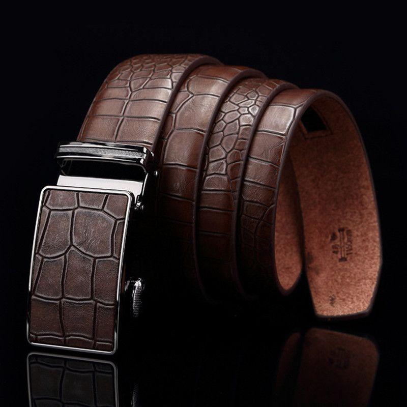 Good quality elegant  genuine  luxury leather men/'s belt metal automatic buckle