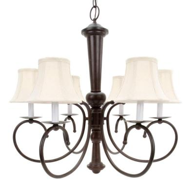 Glomar 6 Light Old Bronze Chandelier With Natural Linen Shades Hd