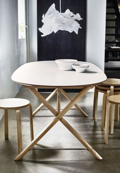 Eetkamer Tafel Wit Ovaal.Tafel Slahult Wit Berken Dalshult Wit Berken Modern Interior