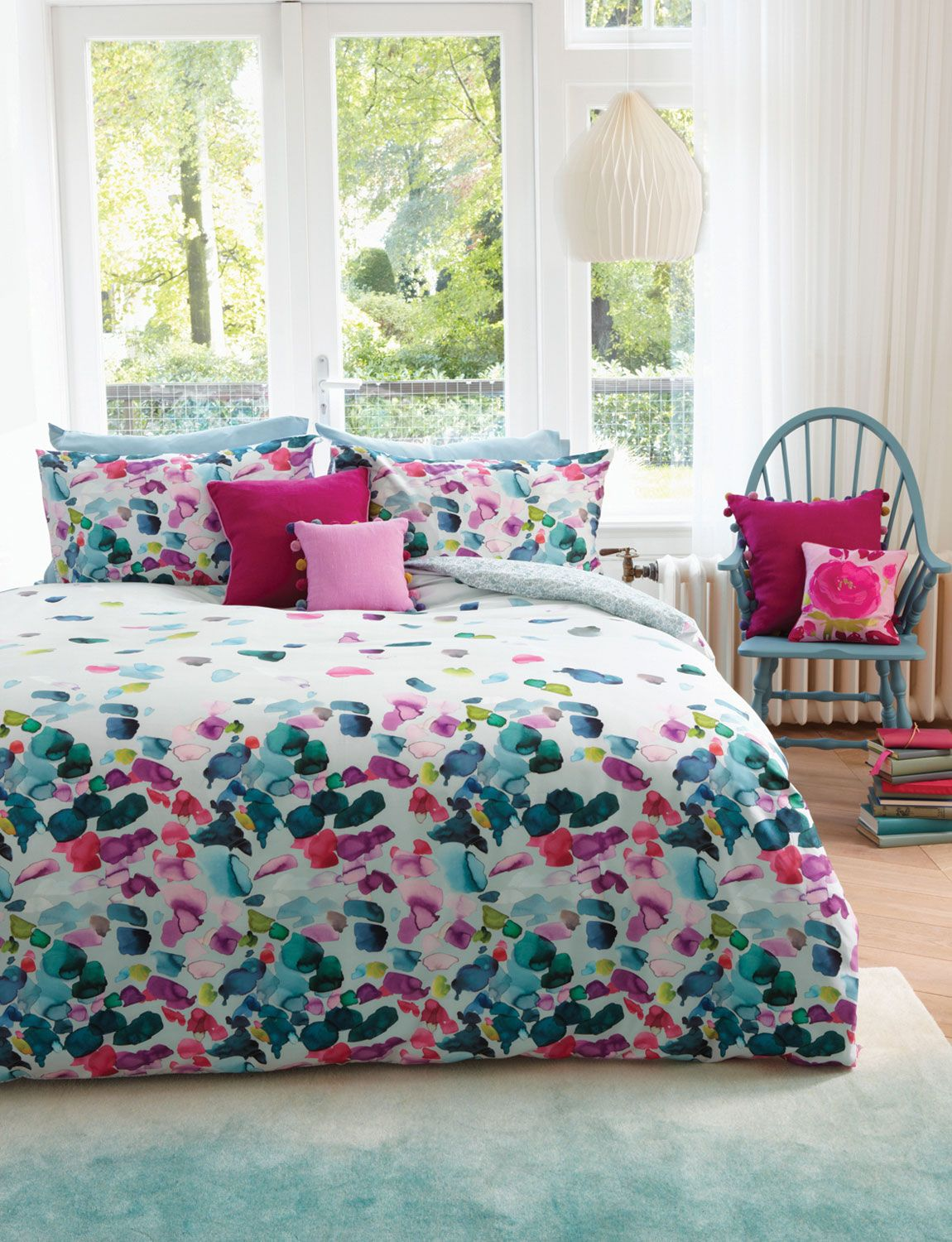 Bedroom Interior In Turquoise Pink And Raspberry Petals