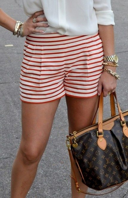 red & white striped shorts