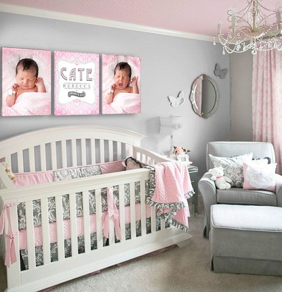 Pink And Gray Girls Baby Room: Baby Girl's Name And Birthday Damask Nursery By