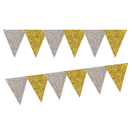 Silver Glitter Gold Glliter 10ft Vintage Pennant Banner Paper Triangle Bunting Flags For Weddings Birthdays Baby Sho Pennant Banners Bunting Flags Gold Party
