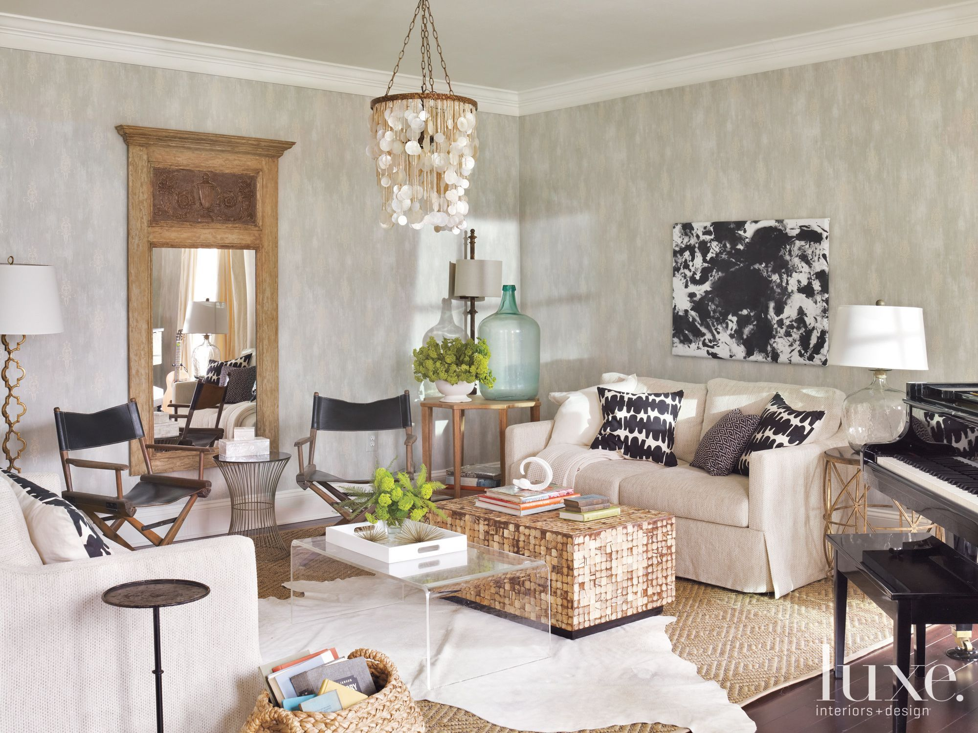 Modern Traditional Living Room Clean Modern Traditional Living Space Beautiful Shell Chandelier