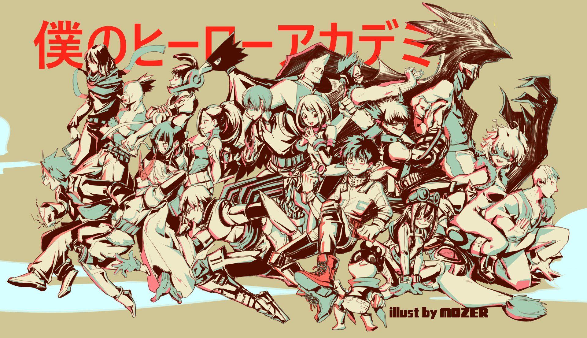 Anime My Hero Academia Mina Ashido Yuga Aoyama Tsuyu Asui