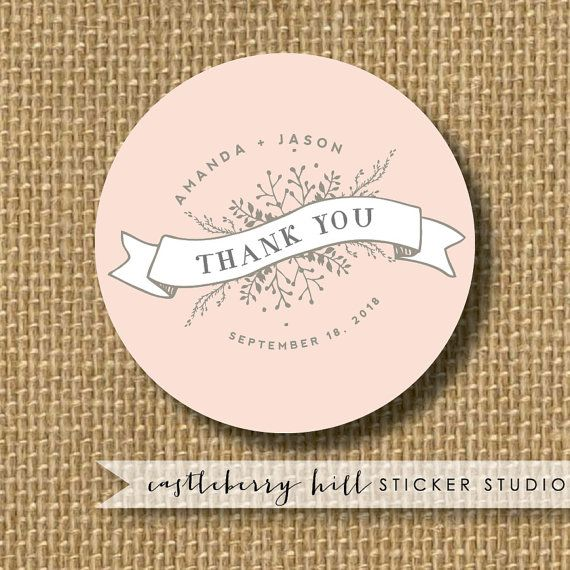 Wedding thank you stickers, Wedding Stickers Personalized, Wedding