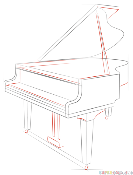 How To Draw A Grand Piano Step By Step Drawing Tutorials For Kids And Beginners Music Drawings Drawing Piano Drawing Tutorial
