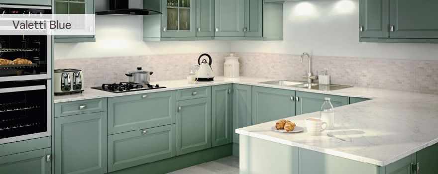 Valetti blue green kitchen idea kitchen ideas for Duck egg blue kitchen units