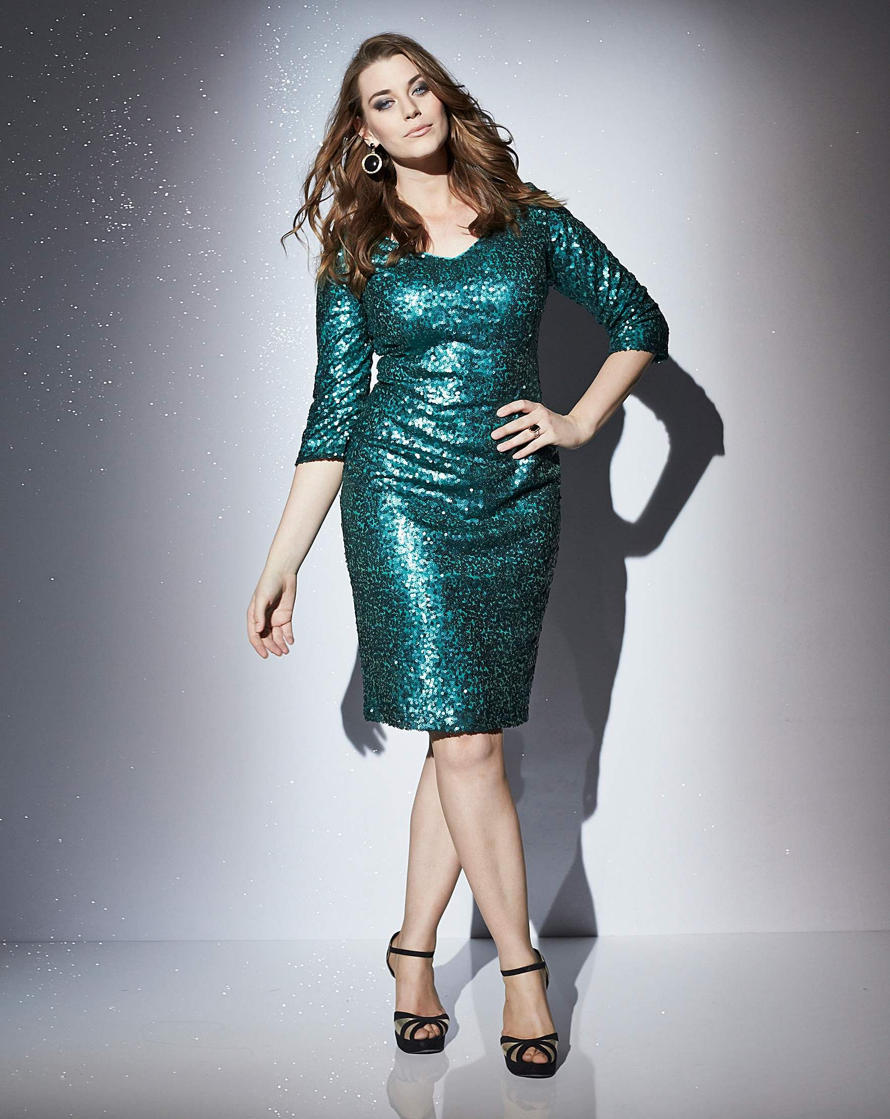 Claire Richards Sequin Dress | Simply Be#colour:Emerald : | FASHION ...