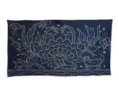 A Large and Lushly Resist Dyed Miao Folk Cloth: Handwoven Indigo Cotton