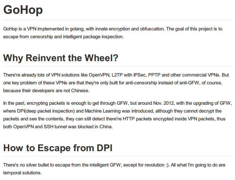 gohop - A VPN implemention in golang, with crypto and
