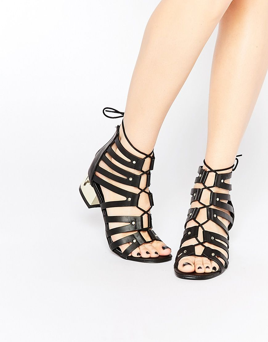 adf47a83c03 New Look Wide Fit Strappy Tie Up Sandal With Gold Heel at asos.com. Gold  HeelsAsosShopping ListsSandalSandalsShoes ...