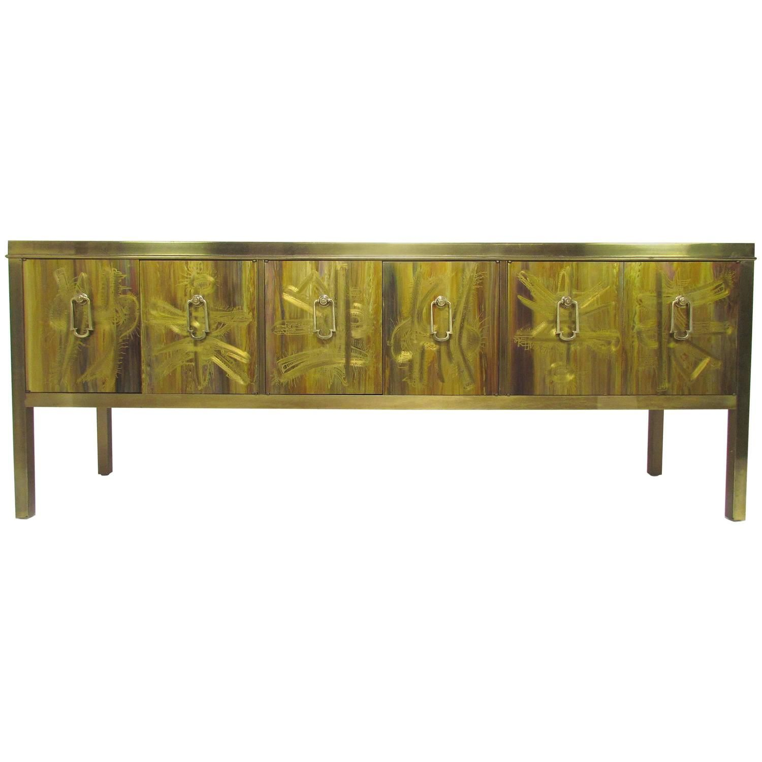 Black Lacquered And Brass Credenza By Mastercraft Liked On Polyvore