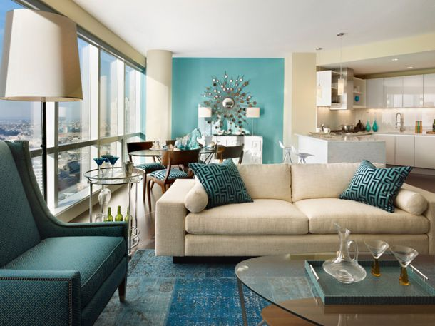 Great Living Room With Sky Blue Accent Wall, Cream Walls, Cream Sofa, Teal Accents