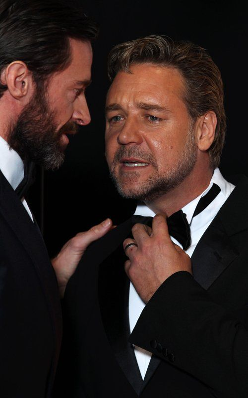 Hugh Jackman with Russell Crowe at the BAFTAs