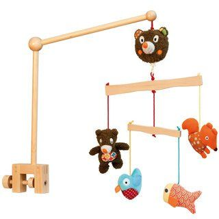 """$79.99-$74.99 Baby Woodours Wood Musical Crib Mobile Unique wood crib mobile featuring baby bear and his woodland friends. Musical mobile plays sweet European lullaby. Mounts in 2 positions, both downward and sidways in order to adjust to different type of cribs. Perfect for the nature inspired baby room! Vintage inspired and modern designed.Product Measures: 18"""" x 11"""" 20""""Recommended Ages: 0 mon ..."""