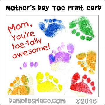 Mom i toe tally love you toe print mother 39 s day card for Preschool mothers day cards