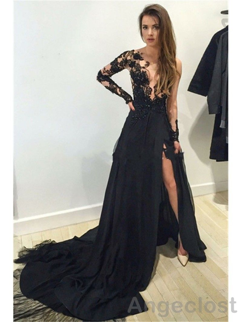 Click to buy ucuc side split lace evening dresses long sheer neck