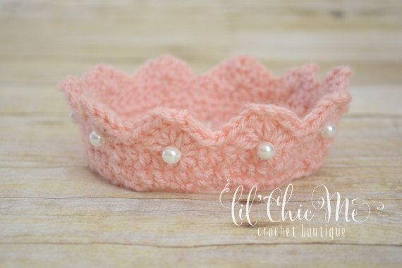 Princess Crown/Crochet Baby Crown/Photo PropREADY TO by lilChicMe #crownscrocheted Princess Crown/Crochet Baby Crown/Photo PropREADY TO by lilChicMe #crownscrocheted