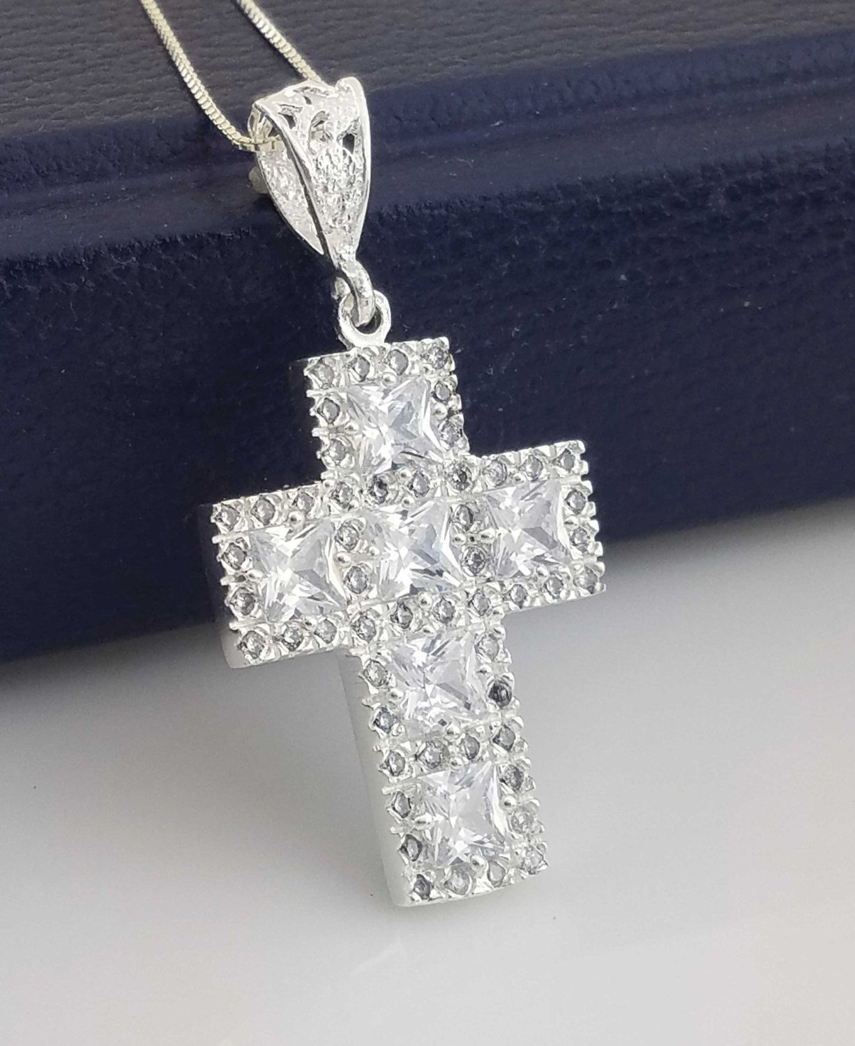 Sterling silver cross necklace silver cross cz necklace cz large sterling silver cross necklace silver cross cz necklace cz large cross necklace sliver aloadofball Image collections