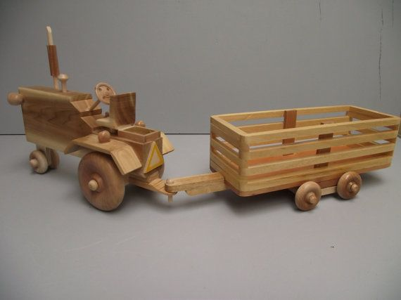 Wooden Toy TRACTOR with Farm Trailer a by Aroswoodcrafts on Etsy, $35.00