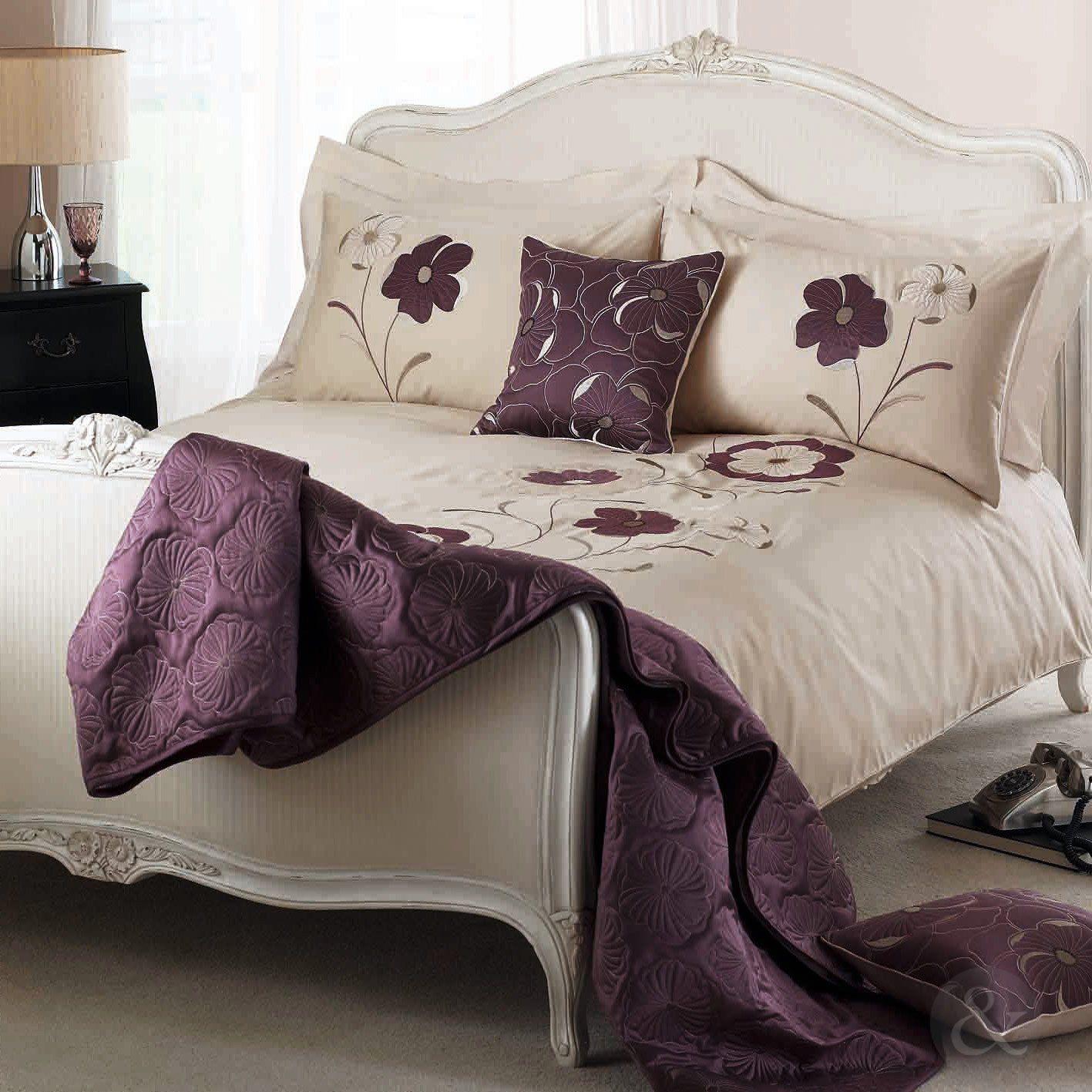 Purple And Cream Bedroom Elegant Floral Bedspread Cotton Blend Embroidered Bedding Bed