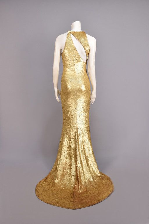 OLEG CASSINI STRETCH SEQUINED GOWN, 1970s