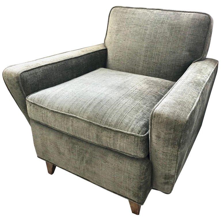Mid Century Modern Olive Green Velveteen Upholstered Danish Lounge
