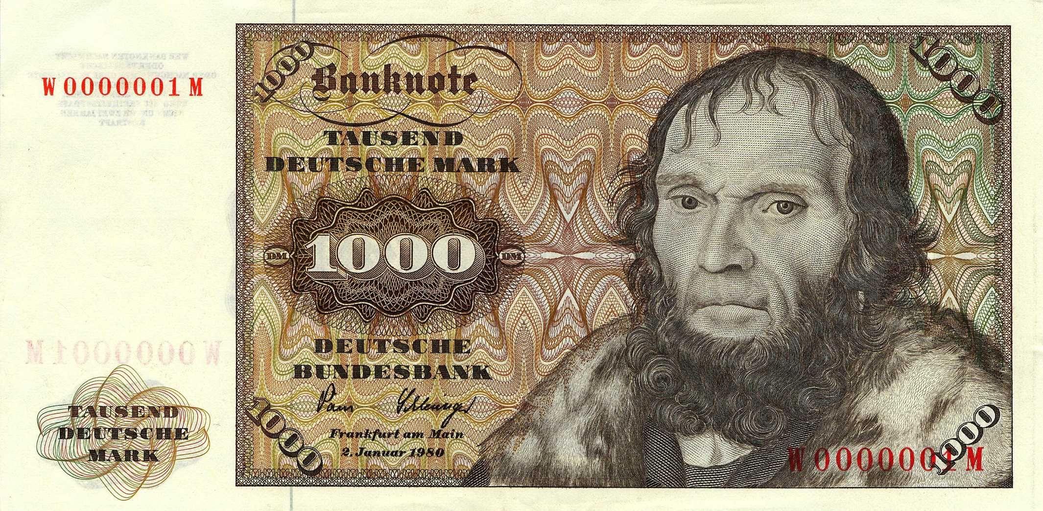 Banknote 1000 Deutsche Mark 1980 Schoner Bank notes