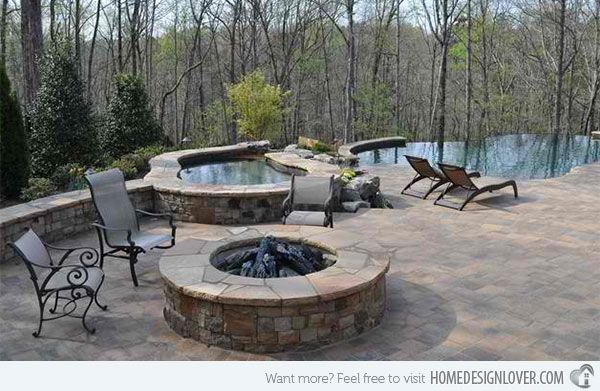 Fire Water Combo In 15 Traditional Pools With Fire Pits Home Design Lover Fire Pit Backyard Small Backyard Landscaping Outdoor Fire Pit