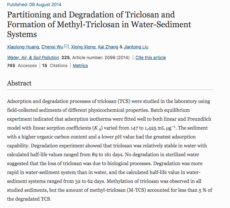 Huang X Wu C Xiong X Zhang K And Liu J 2014 Partitioning And Degradation Of Triclosan And In 2020 Triclosan Sewage Treatment Wastewater Treatment Plant