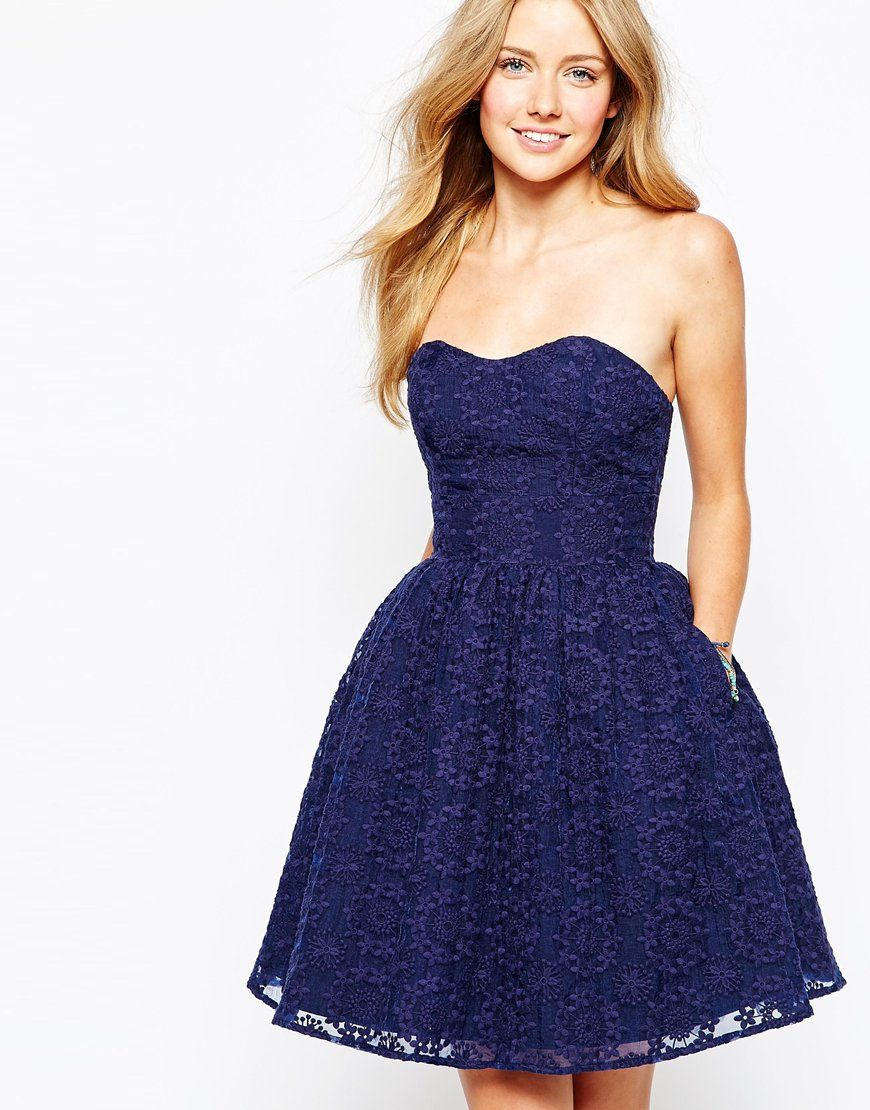 Jack Wills Strapless Embroidered Organza Dress at asos.com