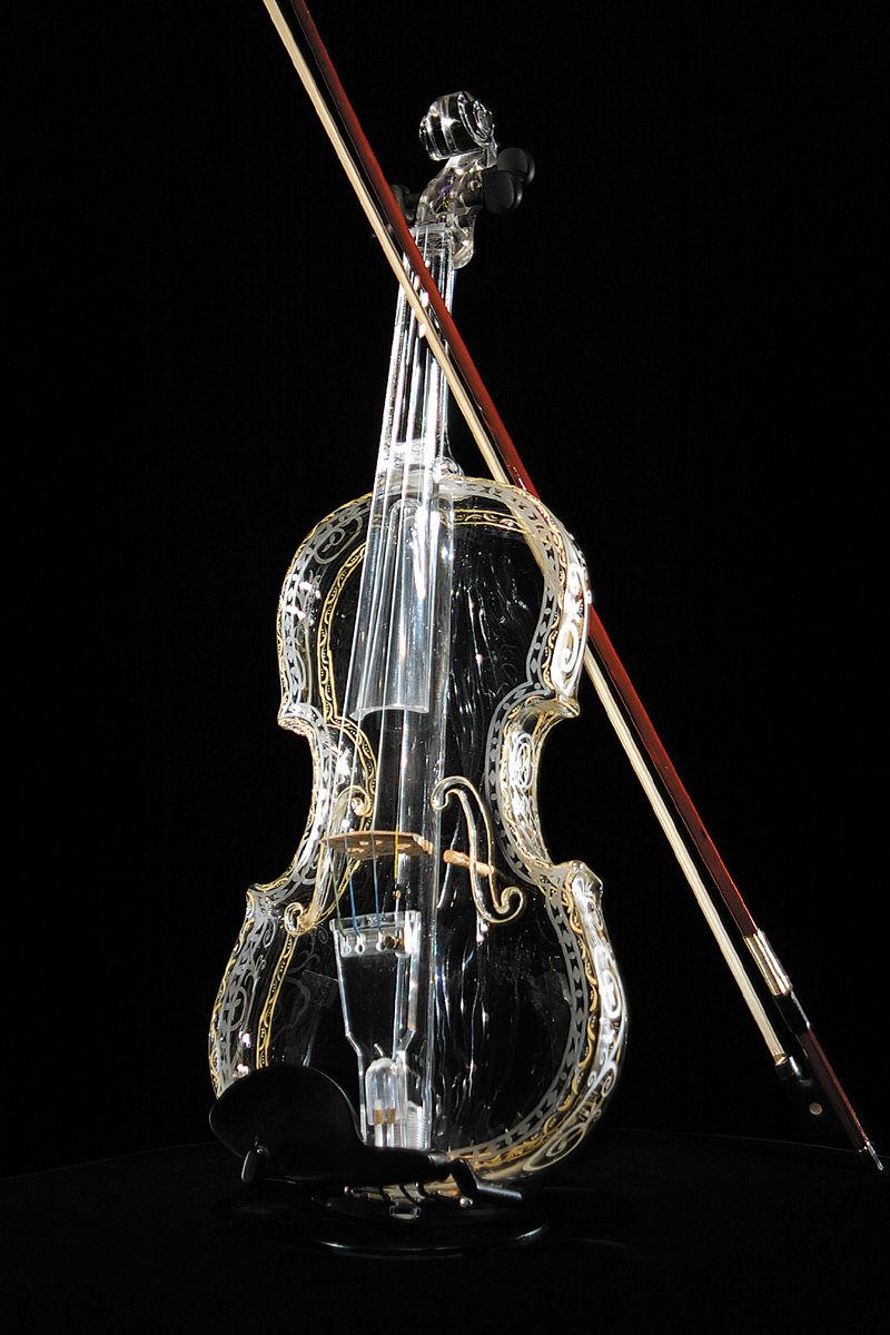 The World's First Glass Violin - The Hirom Glass Violin is a product of Hario Glass Co. Ltd., Japan. Each violin is hand-blown from a single piece of sturdy, heat-resistant glass and hand painted.