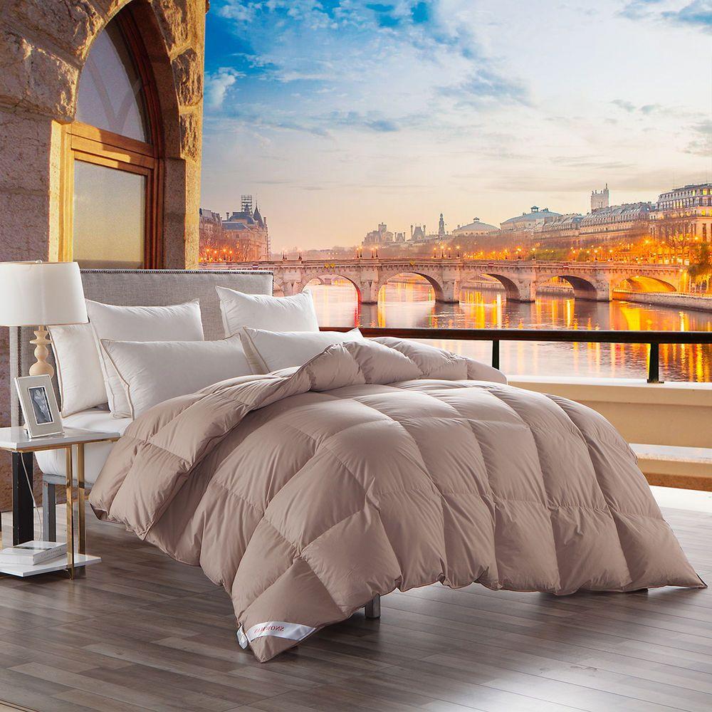 King Size 65oz Natural Goose Down Comforter Khaki Solid Cotton Cover Unbranded Modern Down Comforter Duvet Bedding Bed