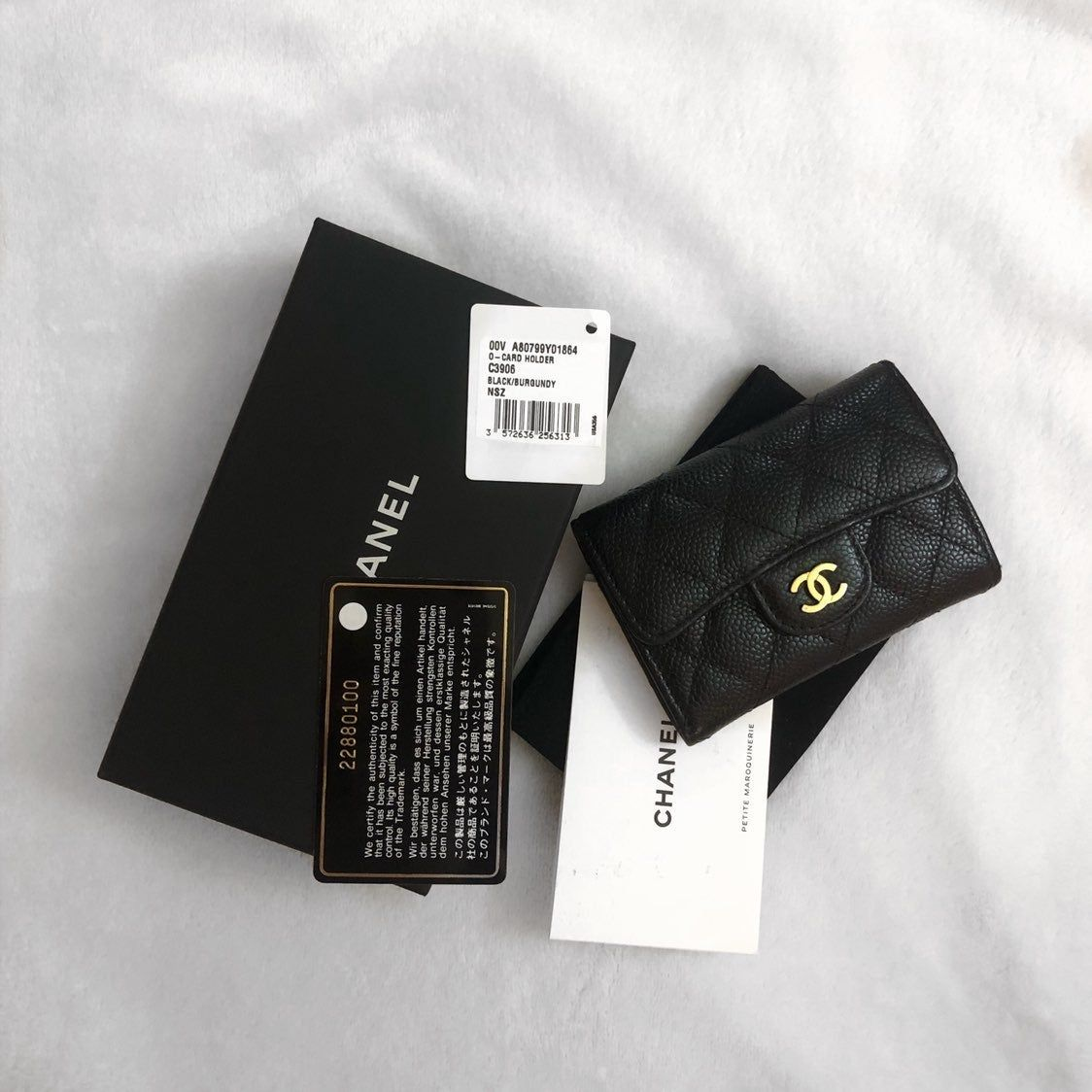 Chanel classic card holder in grained calfskin gold