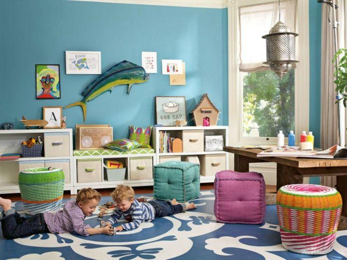 kinderzimmer teppich blau weiße ornamente hellblaue wandfarbe - wandfarben kinderzimmer