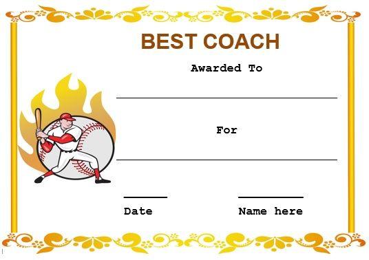 Baseball coach certificate template baseball certificate templates baseball coach certificate template yelopaper Gallery