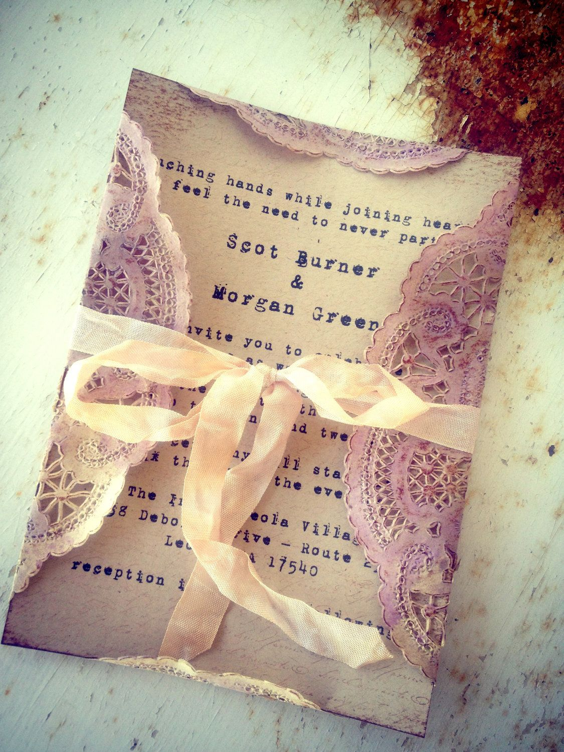 Invitations Pale Purple Doily Orchid Tea stained by ShabbyScrap, $5.50 Use rice paper invitation backer with a paper that's see through and stained