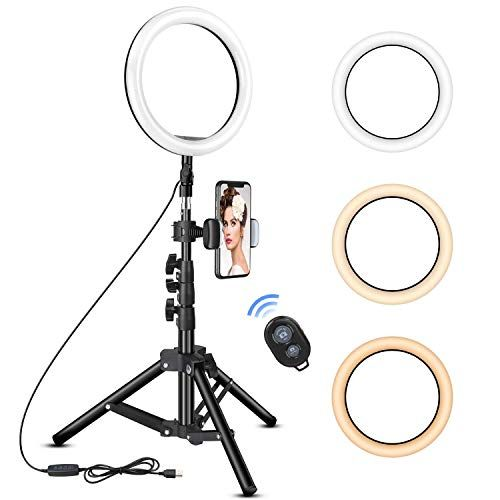 10 inch Ring Light with Tripod Stand  Rovtop LED Camera Selfie Light Ring with iPhone Tri