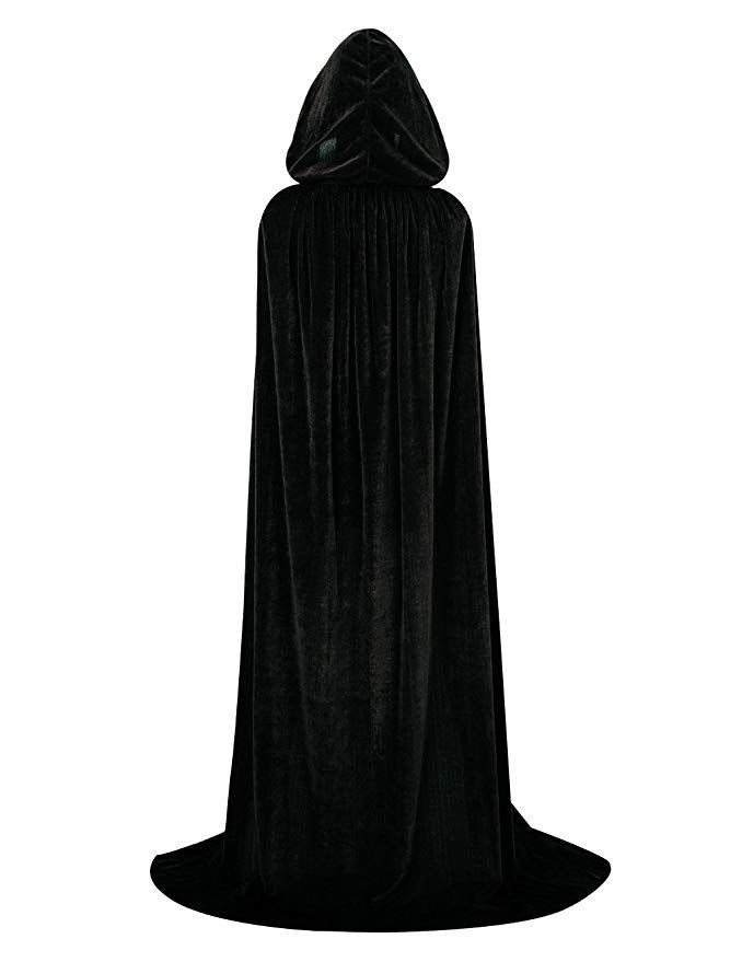 OurLore Unisex Full Length Hooded Robe Cloak Long Velvet Cape Cosplay Costume 59 inch