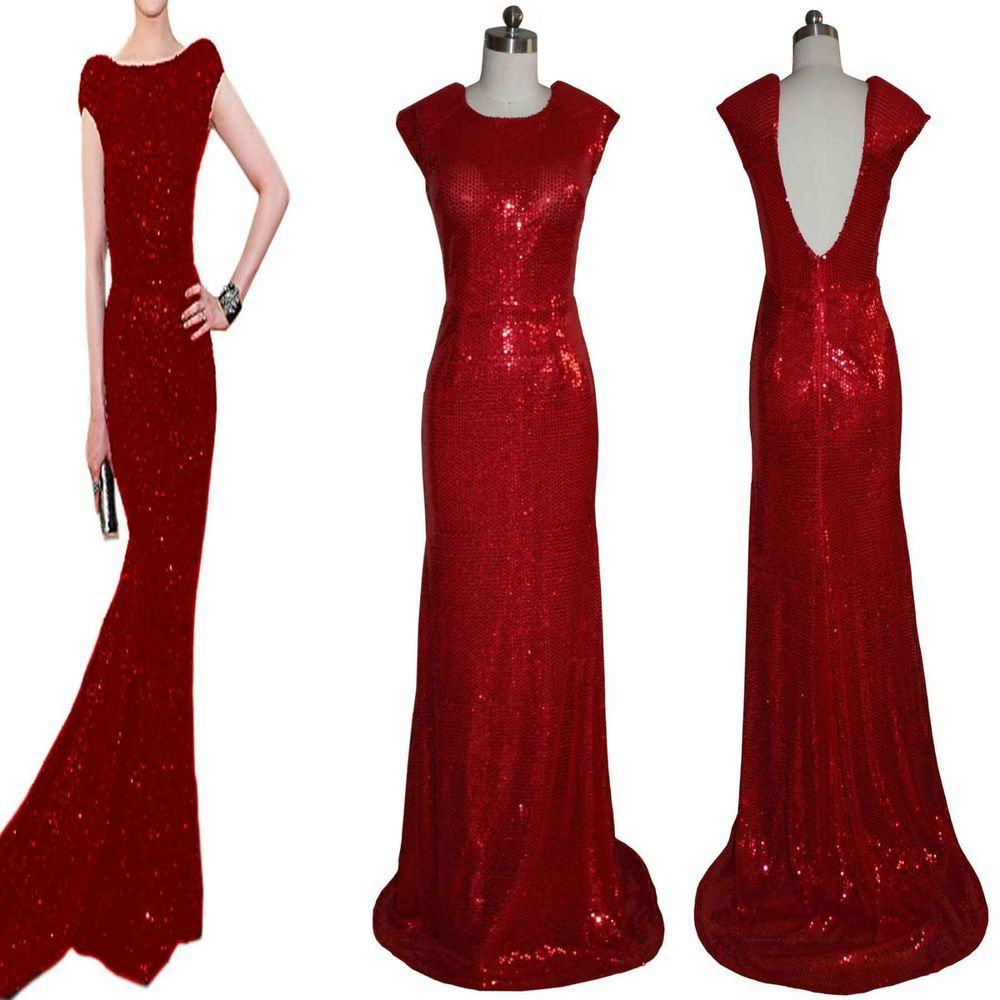 New Ladies Red Sequins tail Open Back long formal evening gown prom ...