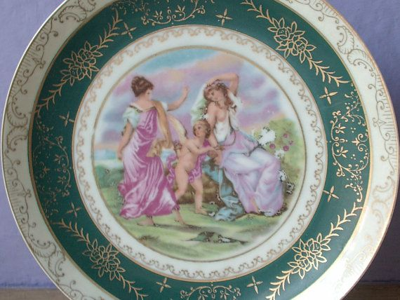 Antique portrait plate hanging wall plate maidens by ShoponSherman & Antique portrait plate hanging wall plate maidens cherub puti ...