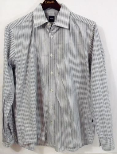 LN Men's BOSS Hugo Boss XL Cotton Striped Gray LS Button Down Shirt - Nice!