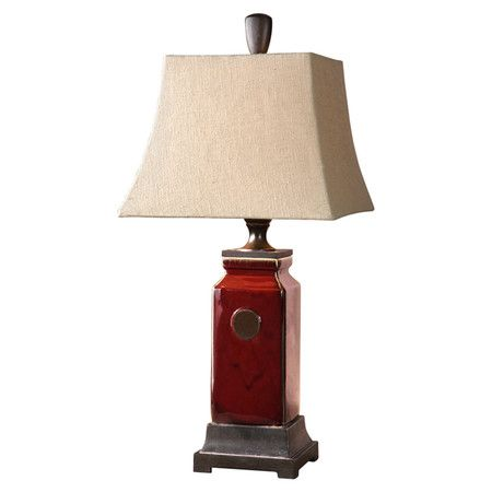 Ceramic Table Lamp With A Red Finish And Linen Bell Shade Product Table Lampconstruction Material Metal And Lamp Buffet Table Lamps Table Lamp