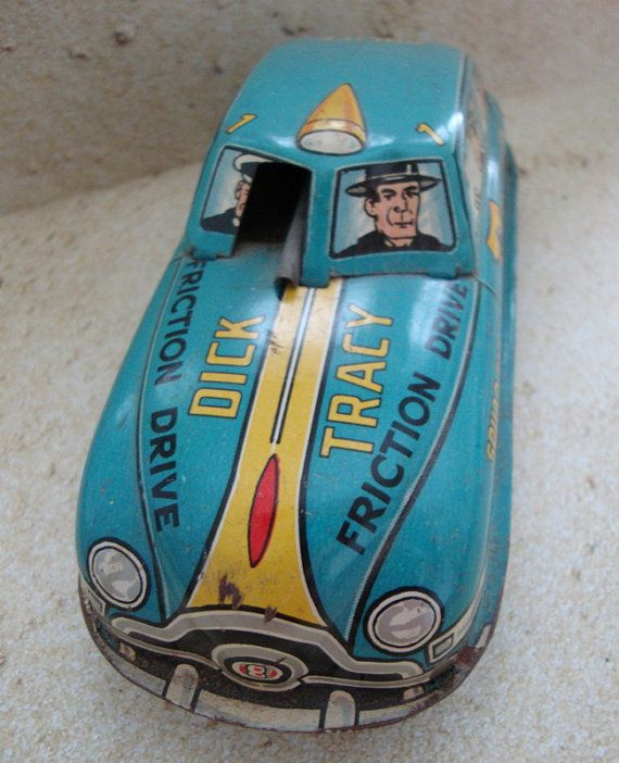 Vintage Dick Tracy Tin Toy Friction Car By