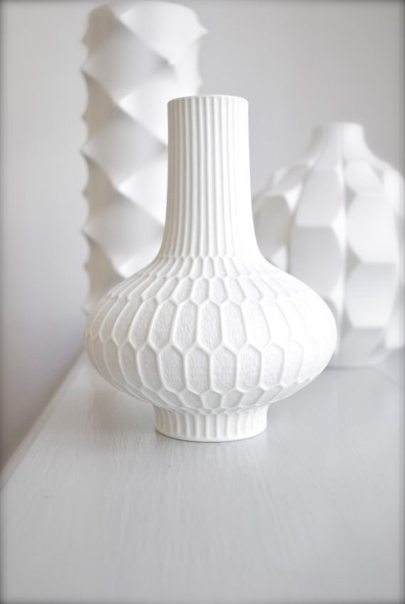 Mid Century Semi Matte White Porcelain Vase By Frstenburg