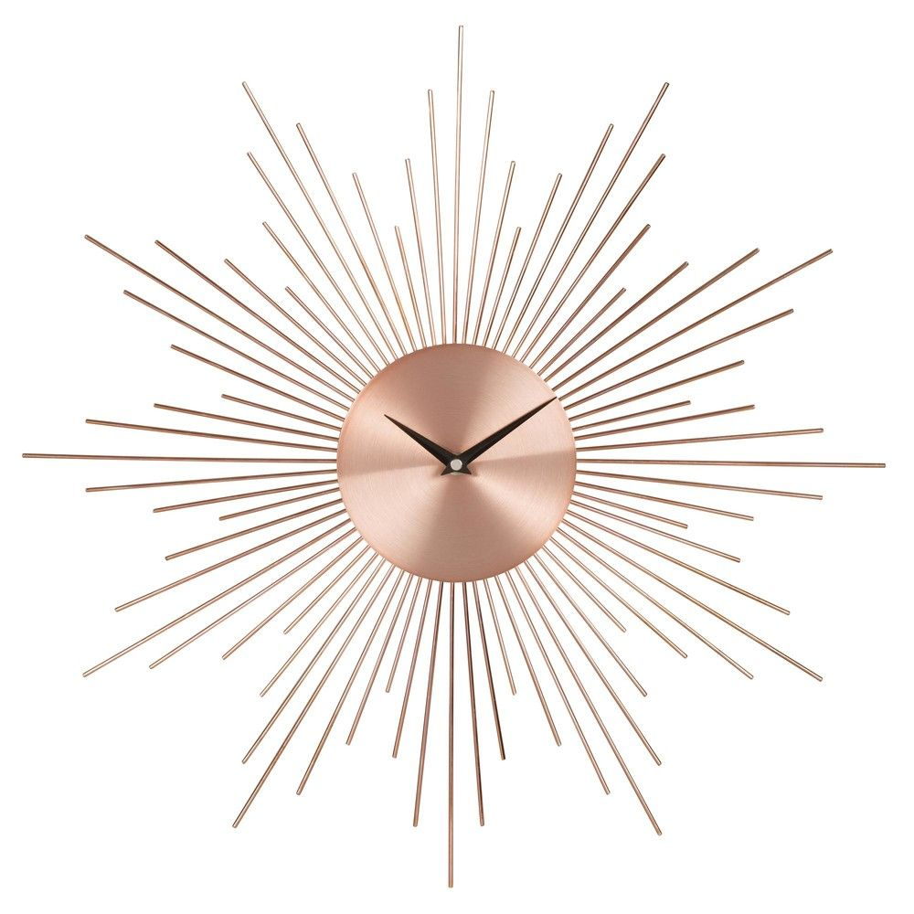 Copper Metal Sunburst Clock | Bedroom decor ideas | Pinterest ...
